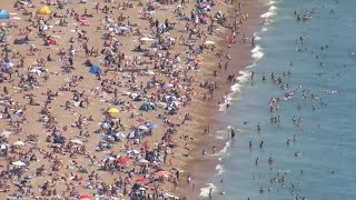 video:  Day-trippers urged to stay away as beaches become packed during heatwave