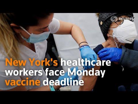 Download New York's healthcare workers face Monday vaccine deadline