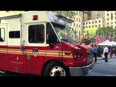 FDNY MOBILE OPERATIONS CENTER LEAVING THE FDNY 2015 FIRE PREVENTION WEEK EVENT IN MANHATTAN, NYC.