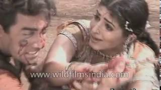 Twinkle Khanna and Aamir Khan in the making of the movie Mela