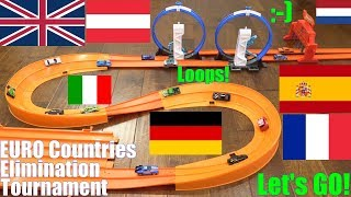 Hot Wheels Elinimation Racing! Hot Wheels Racing European Countries. Double Curve Tracks and Loops!