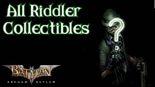 Batman: Arkham Asylum - All Riddler Collectibles (HD,60fps)