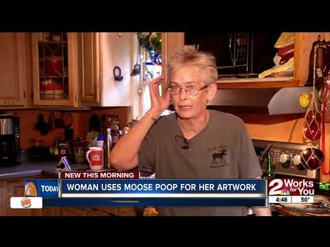 Woman uses moose poop for artwork