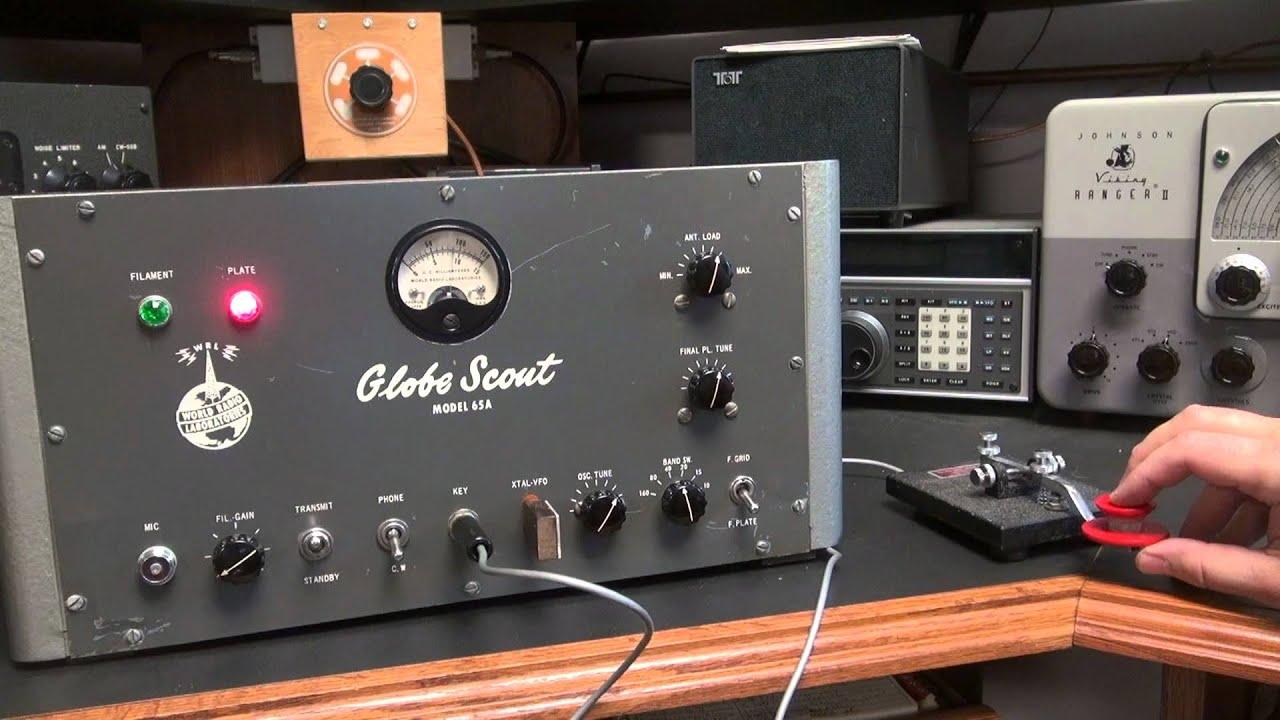 WRL Globe Scout 65A Ham Radio 807 Tube Transmitter Demo