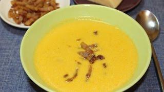 Сырный сливочный суп с беконом.
