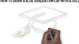 how to draw A Blue Graduation Cap with a Gold Tassel