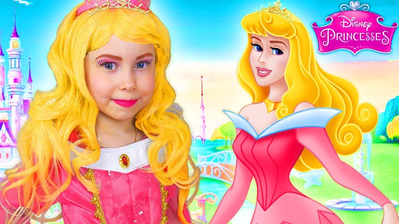 Disney Princess Aurora Costume & Kids Makeup Pretend Play and DRESS UP in a  Real Princess Dresses