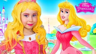 disney princess aurora costume kids makeup pretend play and dress up in a real princess dresses