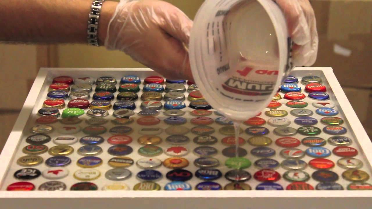Bottle cap bar top tutorial youtube for How to make a table out of bottle caps
