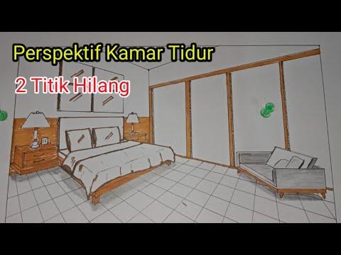 Cara Menggambar Perspektif Kamar Tidur 2 Titik Hilang Contoh 1 Youtube