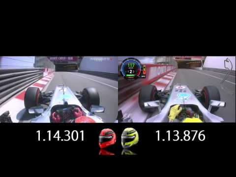 F1 Monaco 2012-13 Pole Laps Comparison - Schumacher vs Rosberg