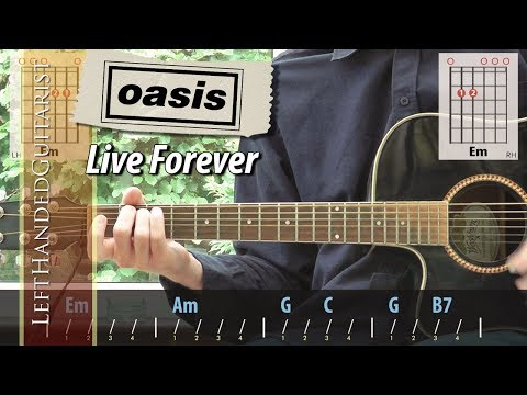 Oasis - Live Forever   acoustic guitar lesson