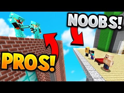 TWO PROS vs SUPER NOOBS! | Minecraft BED WARS