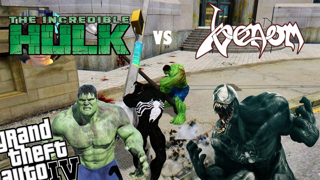 GTA 4 Venom Mod + Incredible Hulk Mod - Venom vs Hulk Who Will Be Stronger?  (+Webcam)