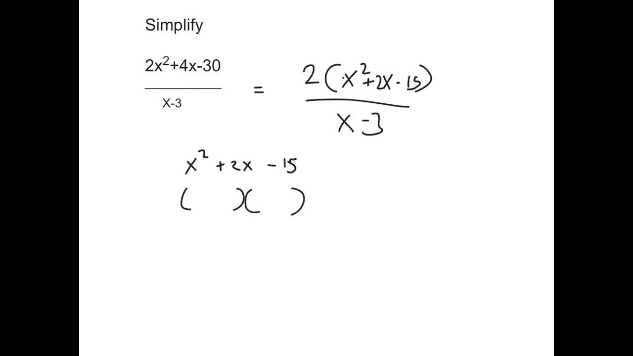 Junior Cert Simplifying Algebraic Fractions Youtube