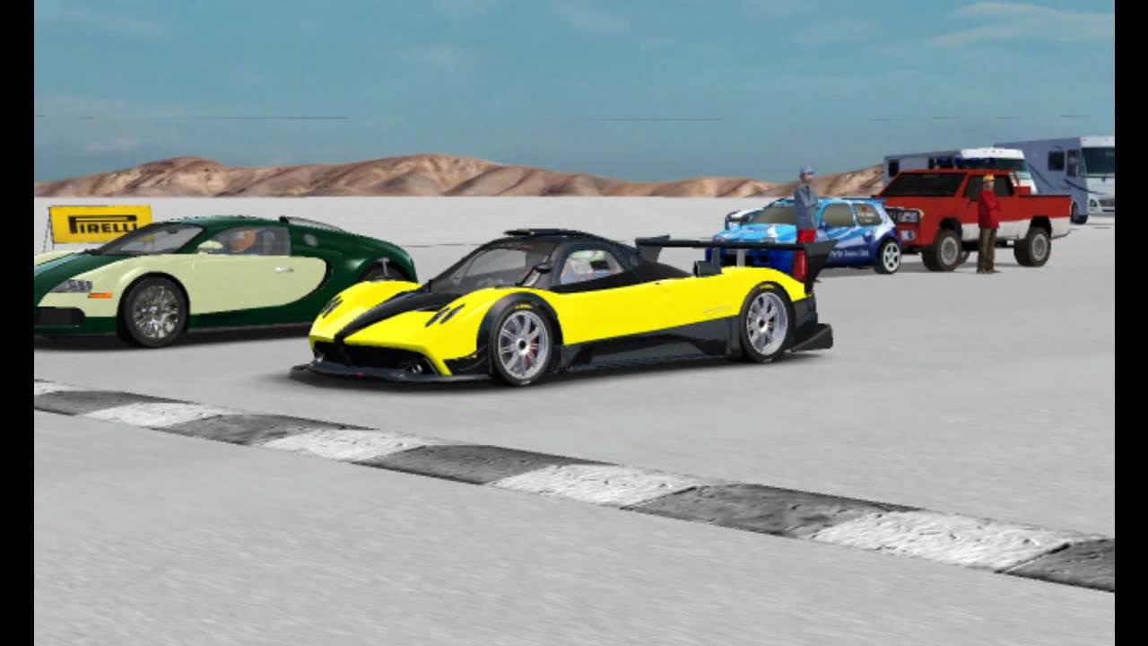 pagani zonda r vs. bugatti veyron on bonneville salt flats (hd