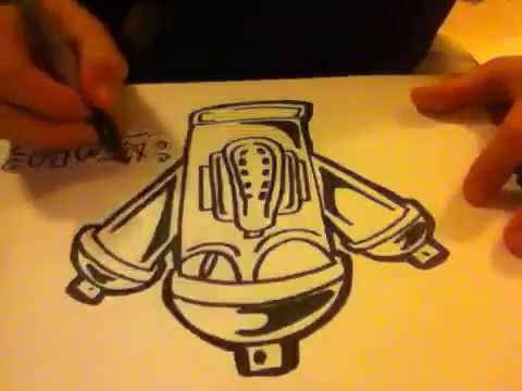 How to draw a graffiti spray paint can with a gals mask ...