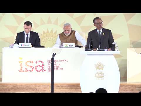 President Kagame delivers remarks at the International Solar Alliance in New Delhi, India.