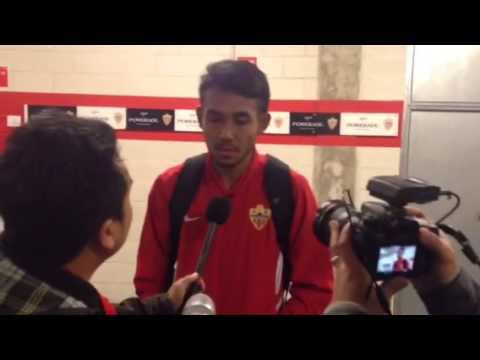 Teerasil Dangda (UD Almería) speaking Thai after Getafe (Spanish King Cup)