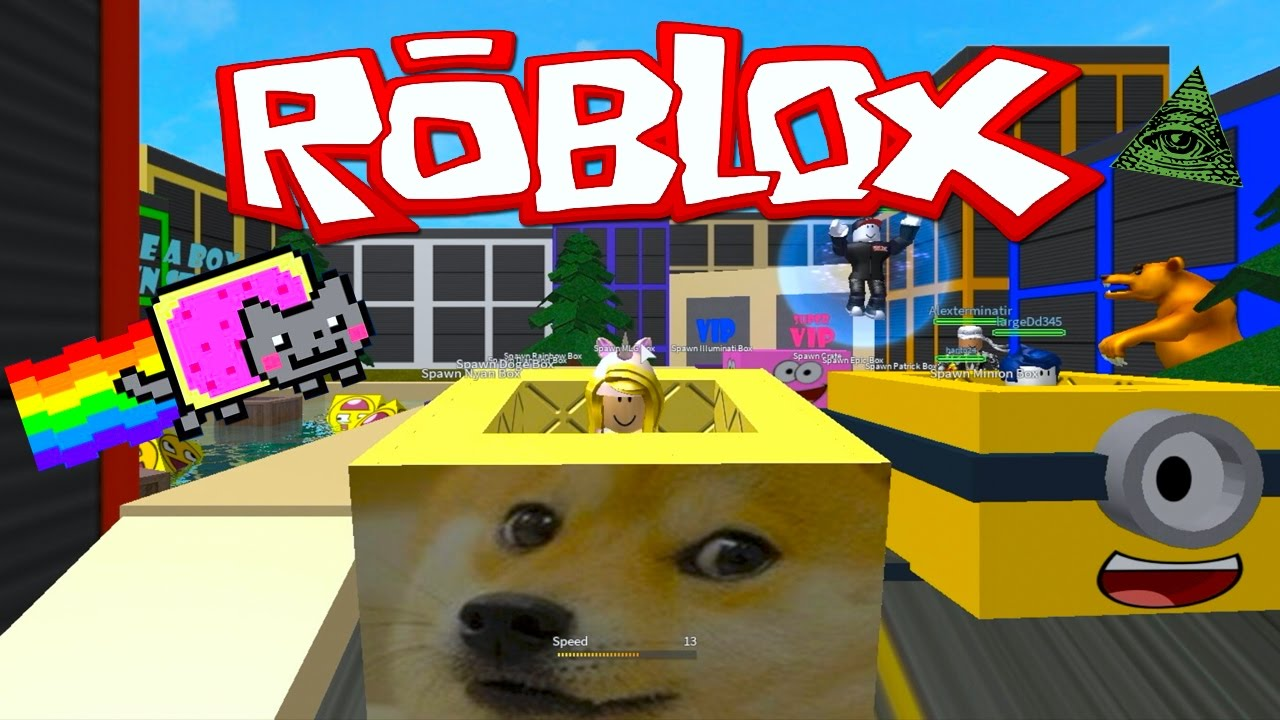 ROBLOX Ride A Box Down Stuff With Nyan Cat And Illuminati