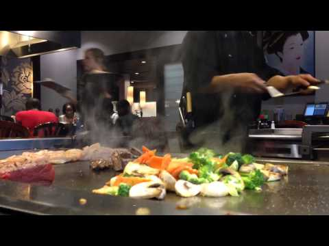 Professional Hibachi Grill Chef Preparing Delicious Meal 2015