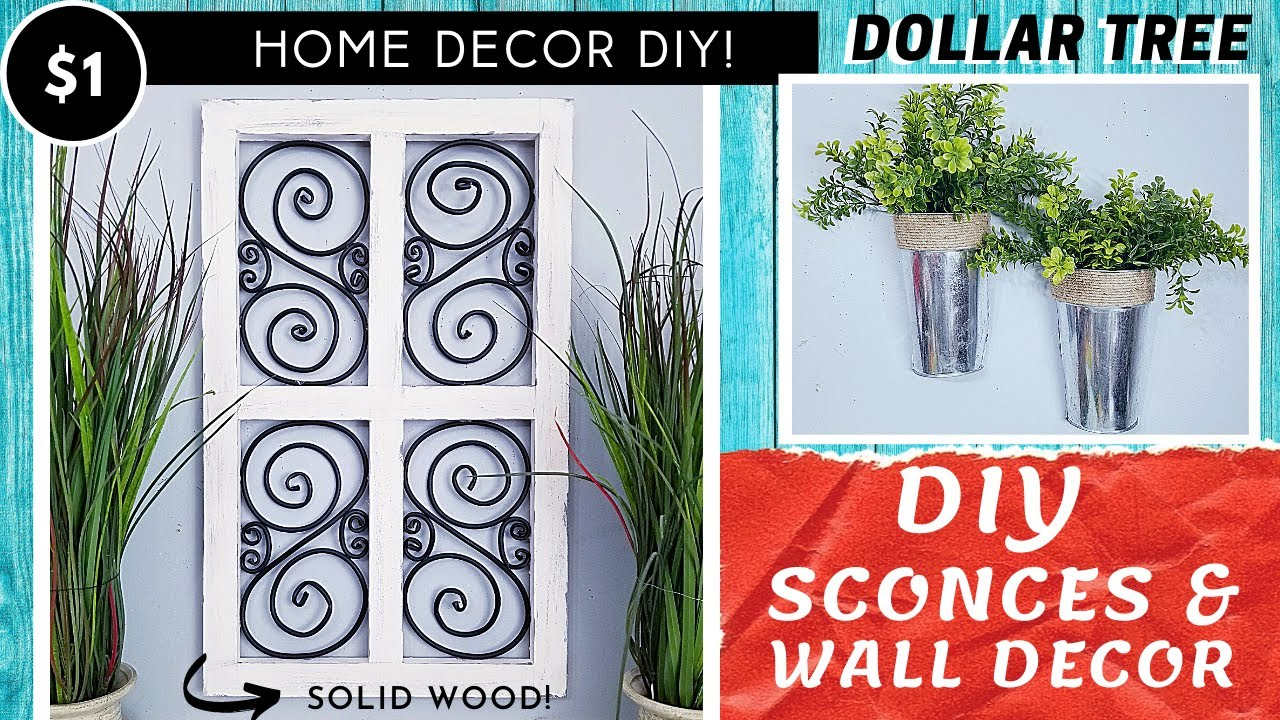 DOLLAR TREE DIY Galvanized Metal Sconces | Solid Wood & Faux Iron Wall Decor | High End Look!