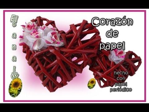 CORAZON DE PAPEL Hecho Con Papel Periodico