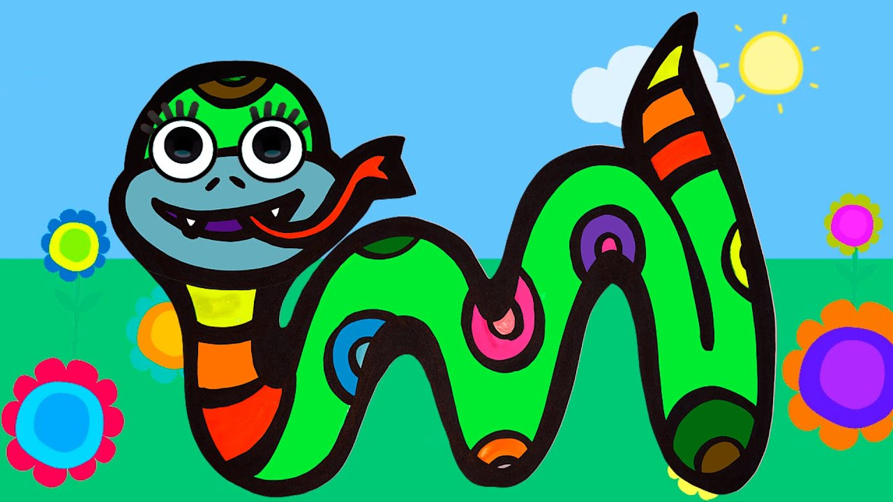 Рисование и раскраска змеи для детей#20 - YouTube