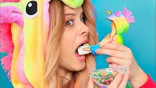 10 DIY Mini Einhorn Essen vs Meerjungfrau Essen / Mini Essen Für Barbie