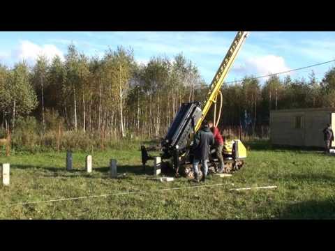 Забивка свайного поля для фундамента бревенчатого дома 9х6 м