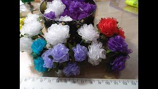 Маленькая роза за 5 минут из ленты. Цветы из ткани для начинающих (handmade)