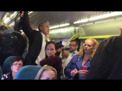Footage of a crowded Southern Train from London to Three Bridges