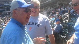 Dad Surprised By Sons Arrival At Mets Game.
