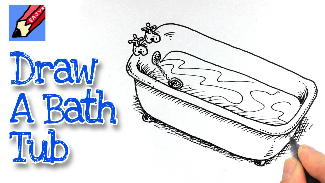 How To Draw A Bath Tub Real Easy Youtube