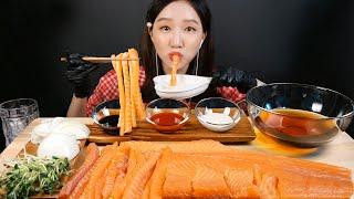 SUB) 통연어 1kg 먹방~ 연어회 연어국수 리얼사운…