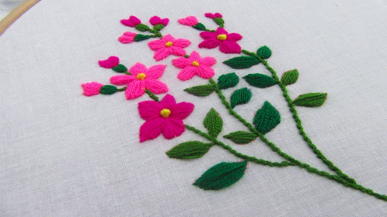 Hand Embroidery, Flower stitch embroidery,Easy & simple embroidery, Crafts  & Embroidery