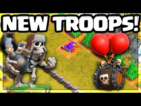 NEW TROOPS! Skeleton Barrel, Giant Skeleton! Clash Of Clans Halloween Update!