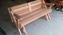 Picnic table to bench convertable table red cedar