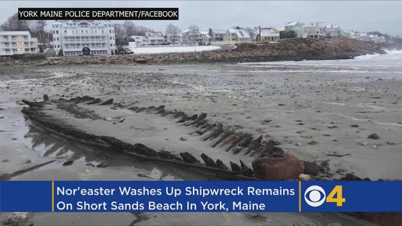 Old Shipwreck Resurfaces On Maine Beach After Nor'easter