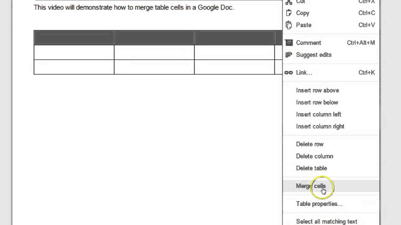 how to delete a table in google docs
