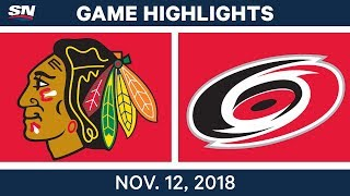 NHL Highlights | Blackhawks vs. Hurricanes – Nov. 12, 2018