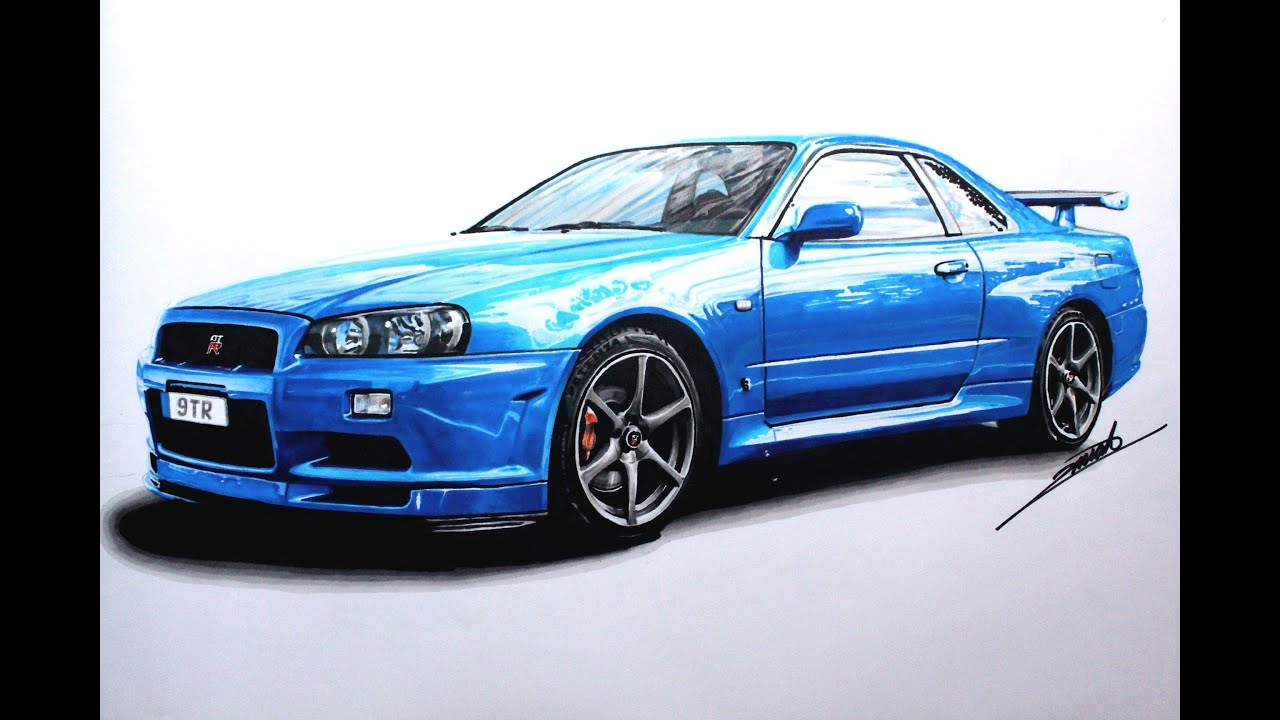 nissan skyline gtr r34 speed drawing by roman miah youtube. Black Bedroom Furniture Sets. Home Design Ideas