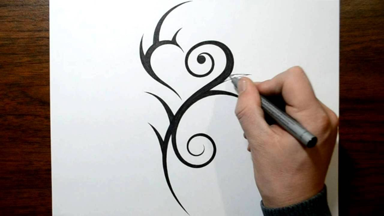6cc6ed7ee Drawing a Cool Feminine Tribal Heart Tattoo Design - YouTube