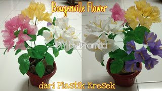 DIY Cara Membuat Bunga Kertas/ Bougenville dari Plastik - Bougenville flower with plastic bag