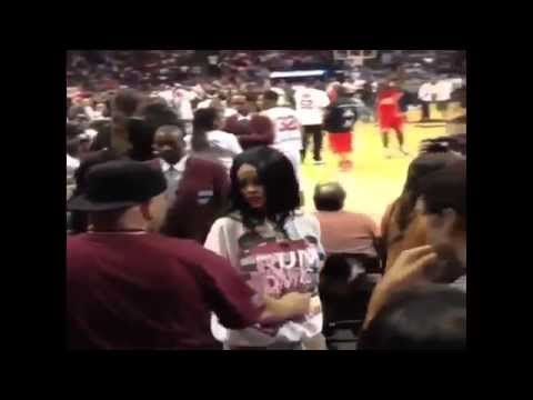 Rihanna Chris Brown Together Basketball Game + cara delevingne