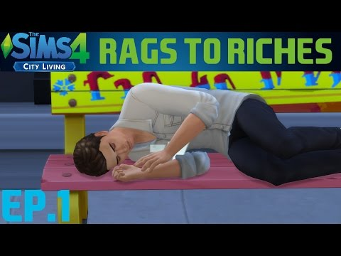 The Sims 4 City Living Rags To Riches Challenge | Ep.1 - Homeless! |