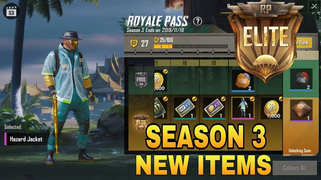 Pubg Mobile Season 3 Royal Pass Rewards Elite Royal Pass New Update