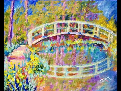 How to Paint Monet's Bridge in the Spring - Ginger Teaches Jon to Paint with Acrylics for Beginners