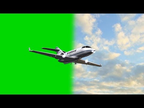 Learjet - private Jet in flight - green screen