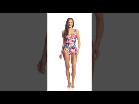 Maxine Sunburst Shirred Front Girl Leg One Piece Swimsuit | SwimOutlet.com